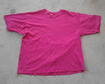 Vintage 80's / 90's Plain Jane Blank Hot Neon Pink T-shirt Made in Canada XL