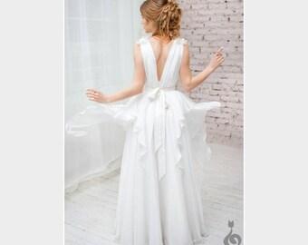 "Wedding dress ""Bella"" , Ivory wedding dress, vintage wedding dress, chiffon wedding dress, romantic wedding dress"