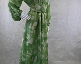 Metallic Light Green Caftan Dress with Matching Belt 1970's | Groovy | Hippie | Bohemian | House Hostess Dress | Mrs Roper | Cinched Waist