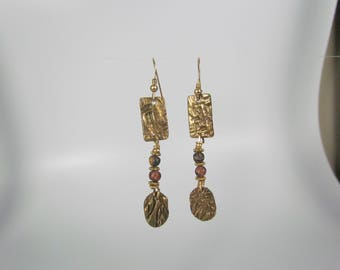 Item 4088 - Lightweight Abstract Bronze Dangle Earrings with genuine Picture Jasper and 14K GF Earring Hooks