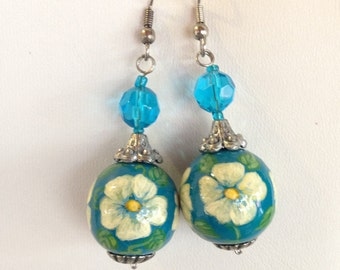 Hand painted earrings / Floral Earrings / Dangle Earrings /Blue Earrings / Flower Earrings / Free Shipping (see description)