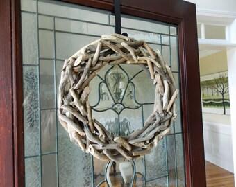 "19"" Driftwood Wreath-Natural Driftwood Wreath-Front Door Wreaths-Nautical Wreath-Coastal Wreath-Summer Wreaths for Front Door-Beach Wreath"