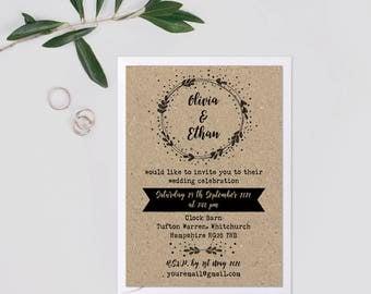 Kraft Wedding Invite Suite, Wedding Invitation Rustic Set, Rustic Barn Wedding  Invitations Recycled Paper