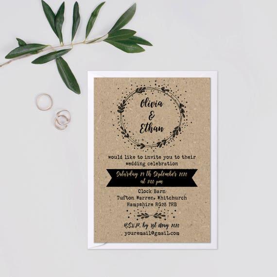 Kraft wedding invite suite, Wedding invitation rustic set, Rustic barn wedding invitations recycled paper, Country wedding invitations A5 A6
