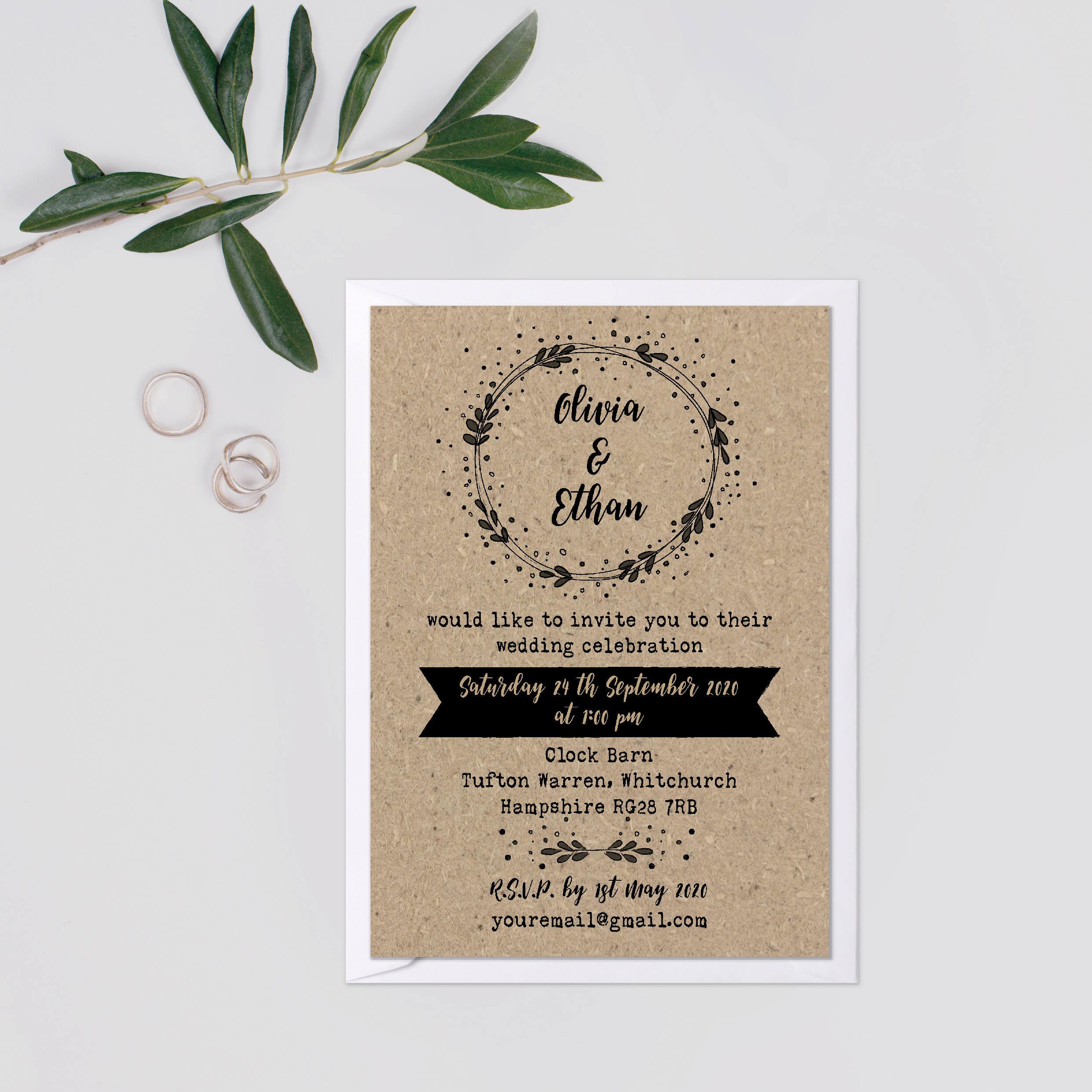 Kraft wedding invite suite Wedding invitation rustic set Rustic – Rustic Barn Wedding Invitations