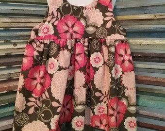 Gray and Pink Floral Toddler Jumper Dress, Toddler girls jumper, Girls spring jumber, Girls summer dress, Size 2 jumper dress, #58