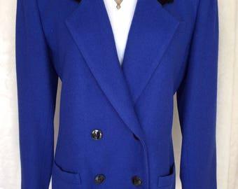Oleg Cassini 80's Cobalt Blue Wool Blazer,Double Breasted,Velvet Collar, Size 8
