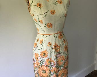 1950s Vintage Dress - Size Small - Linen - Union Made