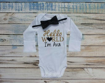 Hello World bodysuit, Personalized name bodysuit, take home outfit, Newborn bodysuit