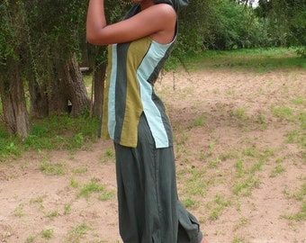 Pants woman, green cotton canvas pants, pleated pants