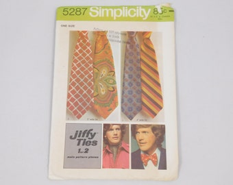 Men's Jiffy Ties Sewing Pattern, Simplicity 5287, Bow Tie, Ascot, 1970s, 5 inches and 4 inches