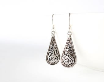 Sterling Silver Earrings | Boho Drop Paisley Dangle Earrings | Gifts for Her | Bohemian Gypsy Hippie Rustic Unique Ethnic Handmade in Nepal