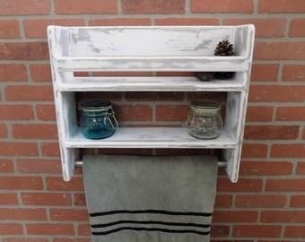 Distressed Bathroom Shelf / Towel Bar / Rustic /