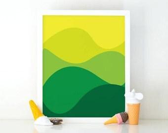 Abstract shades of blue, Minimalist wall art, printable wall art, Kids room decor, Nursery decor, green wall art, nursery wall art, modern