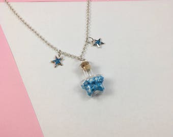 Kawaii Blue Star Bottle Pendant Necklace