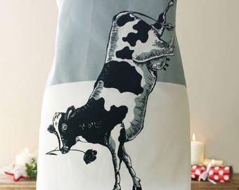 Cow Apron, Circus Farm range, Screen Printed, aprons for women, aprons for men, large apron, kitchen apron