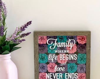 Family Wall Words - Gallery Wall Frame - Custom Family Frame - Family Quote Frame - Shadow Box Frame - Mothers Day Custom Frame - New Home