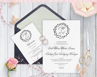 Invitaciones de Boda, Spanish wedding invitation, Instant Download, Diseño Moderno, Nuestra Boda, Imprime en casa, PDF, Edit at home