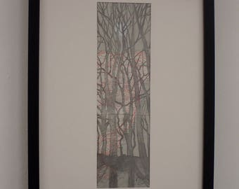 Tree map framed drawing by Kyla Dante