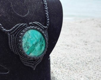 Macrame necklace FREE SHIPPING! Chrysocolla from Peru