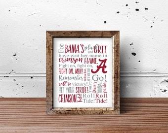 Alabama Roll Tide Print | PRINT or DIGITAL | Crimson Tide, Roll Tide | Alabama Football | University of Alabama | Bama Football