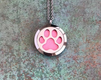 30mm Stainless Steel Essential Oil Diffuser Necklace, Dog, Paw Print, Pet, Animal, Dog Lover, Aromatherapy, Homeopathy, Natural Healing