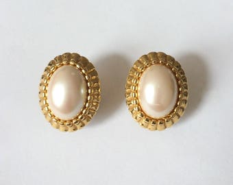 Vintage 1960's MONET Signed Gold Pearl Oval Clip On Statement Earrings