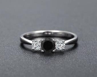 Round Cut Black Diamond Engagement Ring 14k White Gold or Yellow Gold Classic Design Diamond Ring Art Deco Anniversary Ring