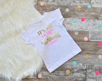 4th Birthday Shirt Fourth Birthday Shirt 4th Birthday Shirt Girls Birthday Shirt 4 Girls Birthday Pink and Gold Birthday 4th Birthday Shirt