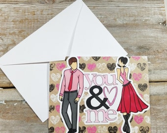Romantic Greeting Cards - You and Me - Romantic Card for Husband - Anniversary Greeting Card - Romantic Card for Her - Love Greeting Card