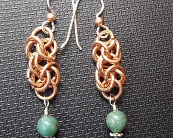 Byzantine Weave Chainmaille Earrings with Dragon Blood Jade Gemstones