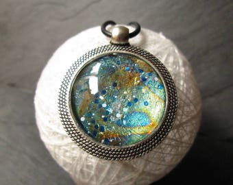 Space -  Green planet - Hand made - Pendant - Necklace magnifying domed cabochon glass