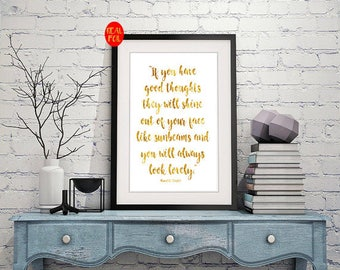 Roald Dahl quote good thoughts, Gold Foil Print, Metallic foil art foiled not printed rose,  quote art Gold  rose gold vintage gold