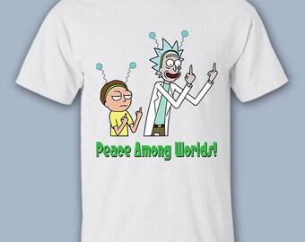 Peace Among Worlds Shirt, Rick and Morty T-Shirt, Funny Tee, Pickle Rick Shirt, T-Shirt, 6X, 5X, 4X, Gildan, DTG Print Shirt, Plus Size