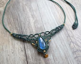 Labradorite Macrame Necklace, macrame jewelry, macrame necklace, labradorite necklace, labradorite macrame, healing jewelry (N15)