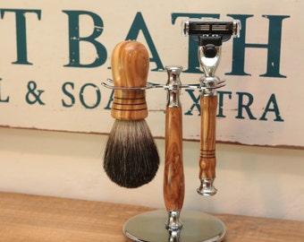 Olive Wood Shaving Set - Chrome Razor set - Mach 3 - badger brush - Christmas gift for him - 5th anniversary gift - Christmas For dad
