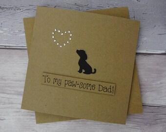 Puppy dog birthday card for Dad, Labrador / Spaniel / Beagle puppy, Handmade pun card, Cavalier King Charles Spaniel, Father's Day card