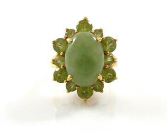 14K Jade & Peridot Ring - X3290