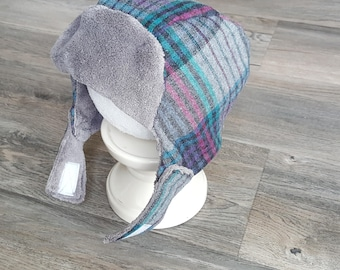Kids winter girl hat, yooper hat/fits ages 5-7 wool hat/girl winter hat with ear flaps/Gray,teal and purple plaid wool girl hat/girl hat