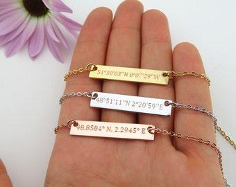 Custom Coordinates Necklace, Bridesmaid Gift, Personalized Bar Necklace, Coordinates Jewelry, Latitude Longitude, Graduation Gift VicJewelry