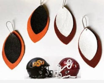 Leather Football Earrings- Team Colors