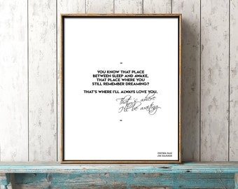 Peter Pan print, romantic wall art, Neverland Nursery, nursery art, bedroom decor, Peter Pan quote, black and white, I'll always love you