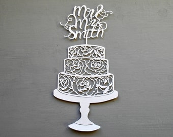 Wedding Cake Personalised Papercut, Mr and Mrs Floral Rose Hand cut cake topper gift, art