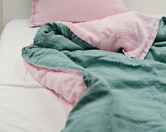 Linen Kids Bedding Set, Peppermint/Pink Duvet Cover and Pillow Cover, Washed Linen, Nursery Bedding, Baby Bedding