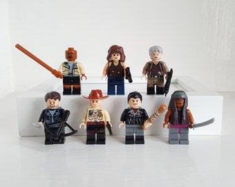 Walking Dead Minifigures or Keyring Set Lego Compatible Rick Grimes, Carol, Daryl, Negan, Morgan, Maggie, Michonne Birthday Gift Fathers Day