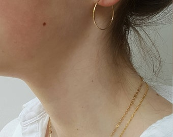 Gold Hoop Earrings  -  Small 1 , 1.5  Inch Hammered Gold Filled Hoop Earrings  -  Thin Gold Hoops  -  Minimalist Hoop Earrings - Made In UK