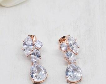 Earrings Rosegold Crystal Wedding Jewelry