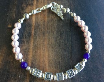 Swarovski Pink Pearls, HOPE, LOVE and Angel Wing Bracelet in Sterling Silver and Amethyst