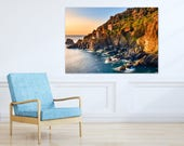 """Canvas Print, Poldark Tin Mine, Cornwall, Wall Art, Seascape, 20""""/32""""/46"""" sizes, Handcrafted in Cornwall, Perfect Gift for Christmas"""