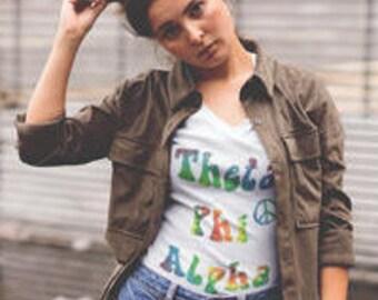 Theta Phi Alpha Sorority Tie Dye Women's V-Neck T-shirt